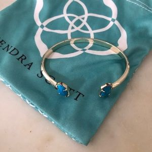 Kendra Scott gold turquoise stone cuff bracelet